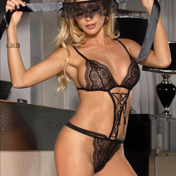2eb628808 Women s Sexy Teddy Bear Black Lace Lingerie